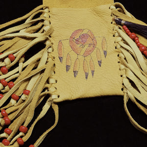 Medicine Bag--Deerskin Bag with Two Red Ponies and Spear and Turtle