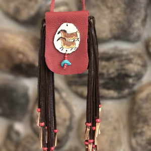 Medicine Bag--Red with Two Cave Horses Painted on Antler