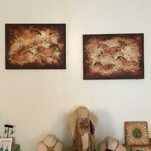 Mares of the Past, Mixed Media Diptych