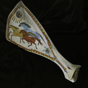 The Dakota Trio-Painted Scapula with Horses, Turtle, and Thunderbird