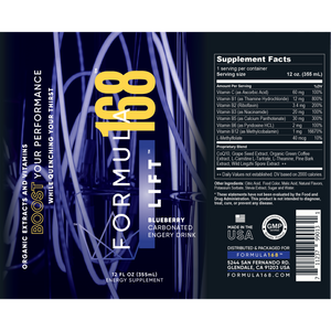Formula168: Lift energy drink label