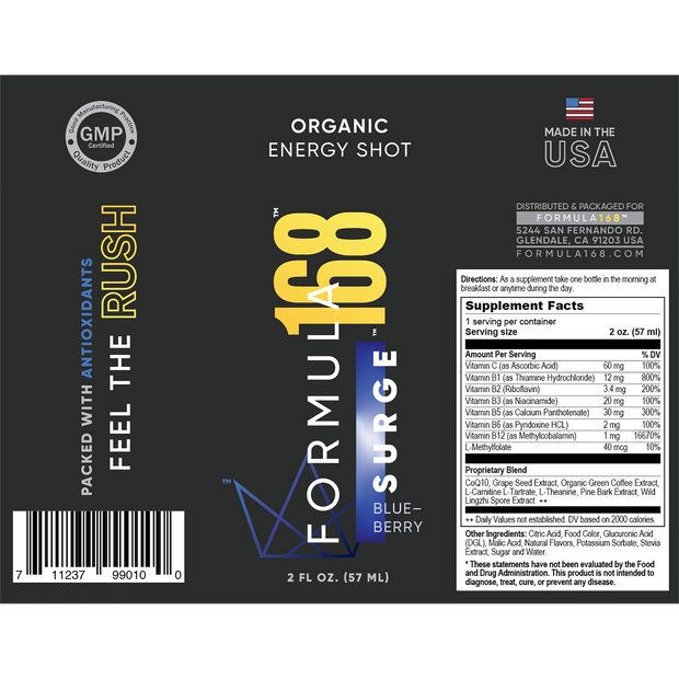 Formula168: Surge energy shot label