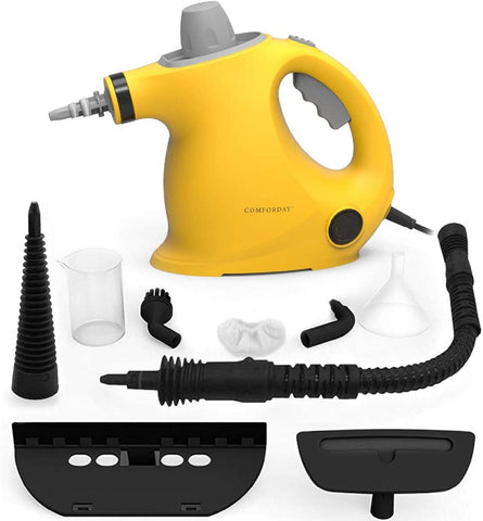 Comforday Handheld Steam Cleaner, Portable Multi-Purpose Pressure Steam Cleaner with 9 Accessories for Stain Removal, Carpets, Curtains, Car Seats, Kitchen, Bathroom(Yellow)