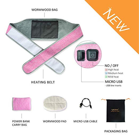Liiva Portable Waist Heating Pad Belt with 3 Heat-Settings (pink)