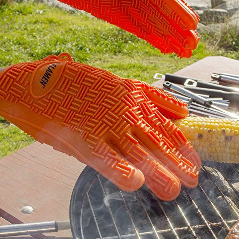 Silicon BBQ Gloves, Heat Resistant Insulated at 230C