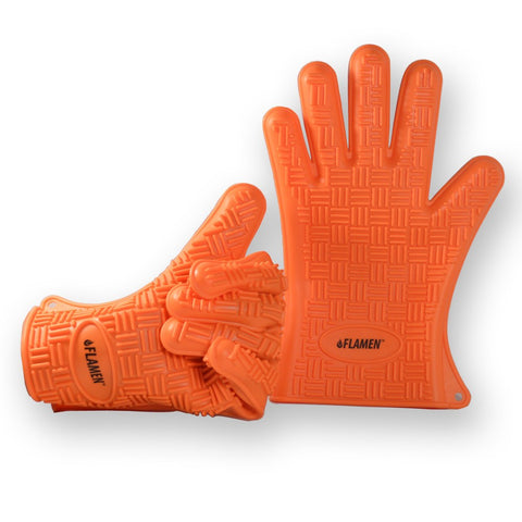 Flamen Silicone Glove, Premium Heat & Water Resistant BBQ Grill & Kitchen Oven Mitts, Pair of Two