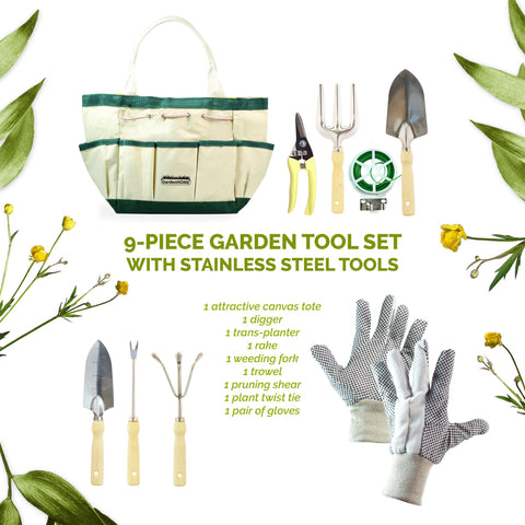 9-Piece Garden Tool Set with Canvas Storage Bag