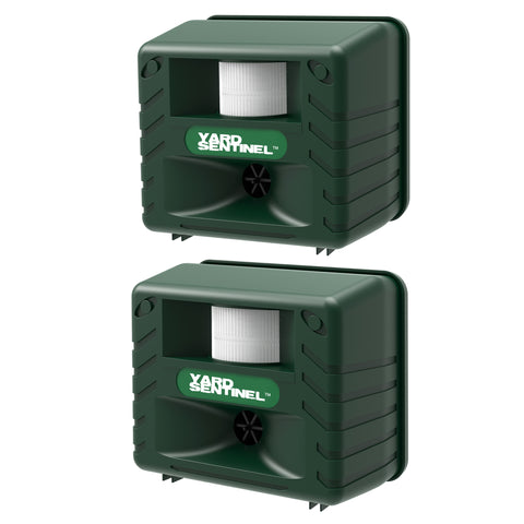 ASPECTEK Yard Sentinel Electronic Ultrasonic Animal Control, Pest Control,Cat,Dog,Deer,Pest Animal Repellent with Motion Sensor - Green, 2 Pack, Includes AC Adapter, Extension Cord, Sound Frequency: 15kHz-18kHz