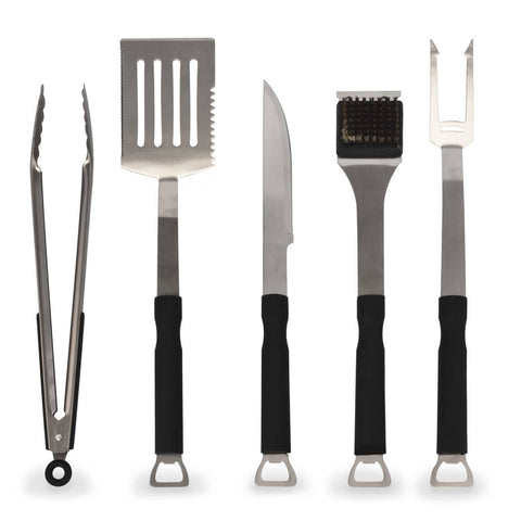 5-Piece Stainless-Steel BBQ Grill Tools Set with Non-Slip Handles