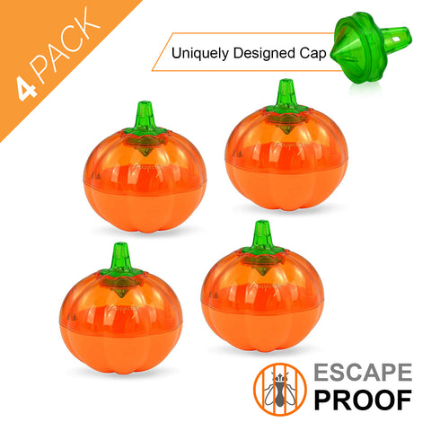 Aspectek Fruit Fly Trap, Pumpkin Shape, Pack of 4