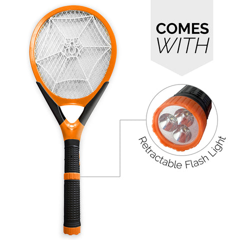 Rechargeable Mosquito Swatter with Detachable Flashlight