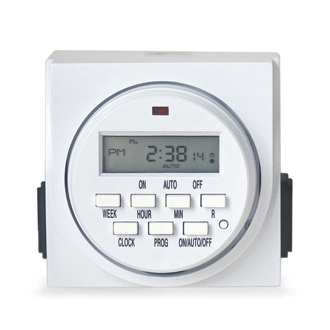 7-Day Programmable Digital Timer with Grounded Outlets