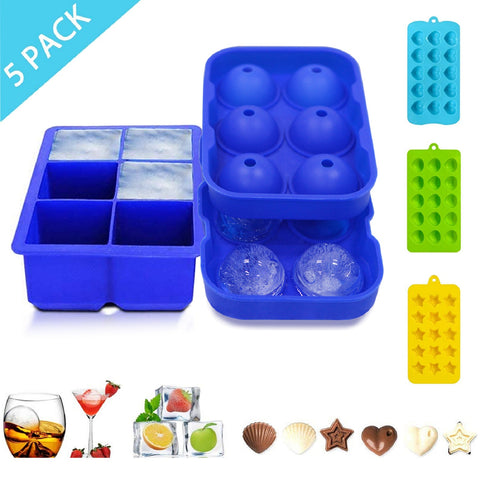 Flamen Ice Cube Trays Silicone 5 Pack Easy Release BPA Free Whiskey Ice Ball Maker,Cocktail Candy Chocolate Heart-Shaped Pentagram Molds/Ice Cube Mould