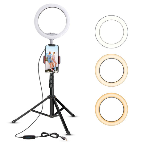 Comforday 10.2 Camera Ring Light with Tripod Stand & Cell Phone Holder, Compatible with iPhone/Android