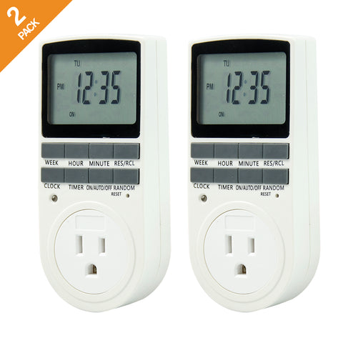 7-Day Programmable Digital Timer with Smart Socket, 2 Packs