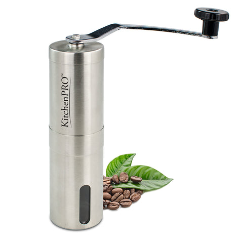 KitchenPRO Stainless Steel Manual Coffee Grinder - Aeropress Compatible
