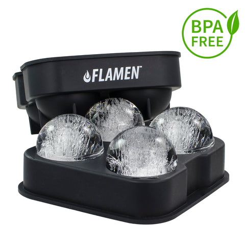Flamen Ice Ball Maker- Easy and Fast Release BPA-Free Flexible Silicone Ice Trays