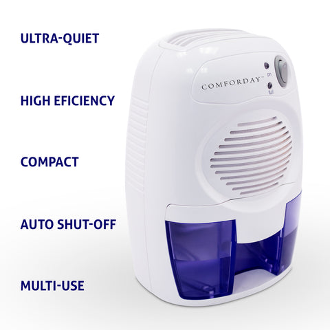 Comforday Portable Compact Dehumidifier with Thermo-Electric, Peltier Technology, 17oz Water Tank