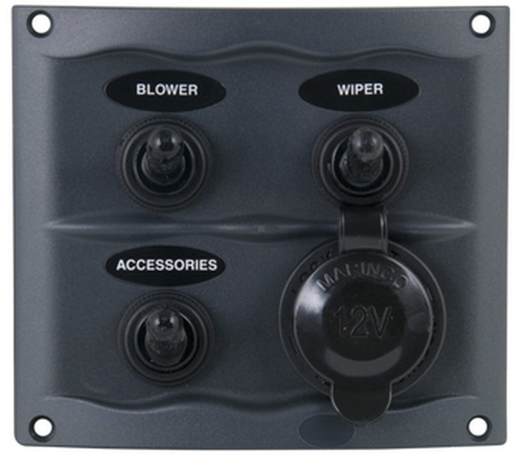 BEP 900-3WPS Marine 3 Way Switch Panel with Waterproof Socket