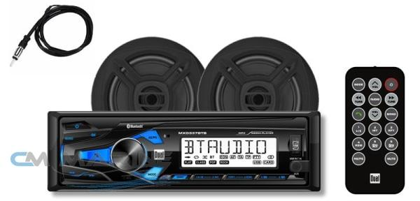 Dual Marine Bluetooth Stereo Combo W/ 6.5 Speakers + Antenna - Black Radio