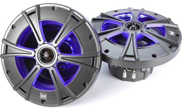 "DUAL 8"" 2-way Marine Speakers with blue LED lighting"