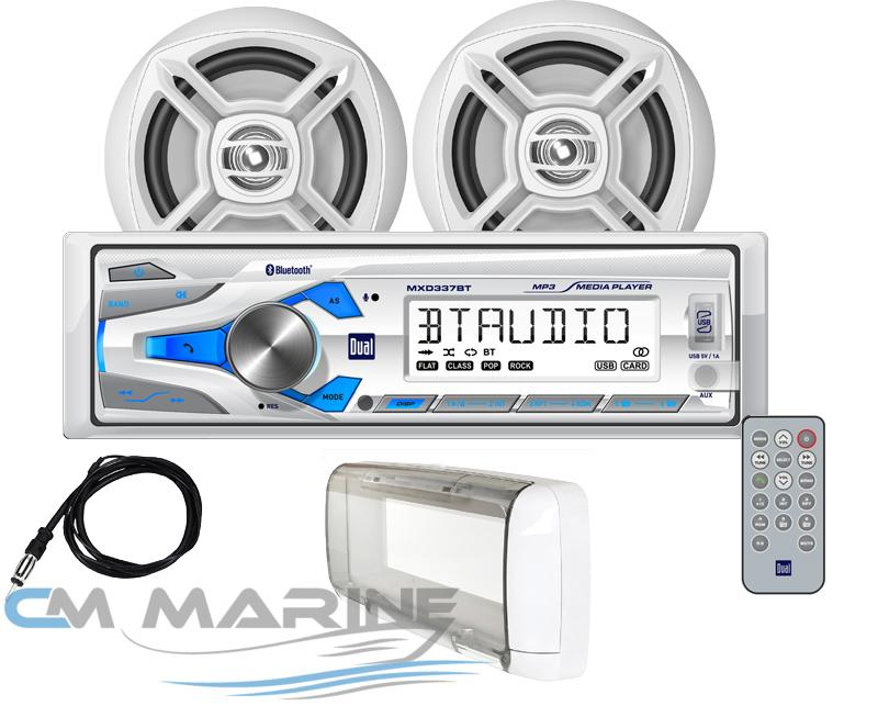 "DUAL Marine Bluetooth Stereo Combo w/ 6.5"" Speakers + Antenna + Splash Guard"