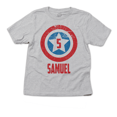 America Superhero Shield Birthday Shirt