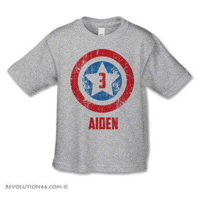 American Superhero Birthday Shirt - Custom Name & Number