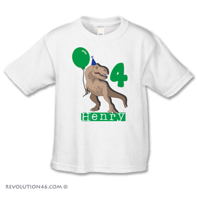 Dinosaur Birthday Shirt - Custom Number and Name