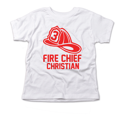 Fireman Hat Chief Birthday Shirt Red Ink