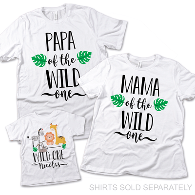 Wild One Safari Mommy and Me Matching Shirts