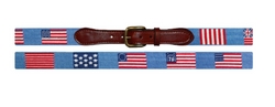 SMATHERS & BRANSON Flags of our Fathers Needlepoint Belt (Light Blue)