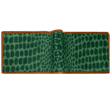 Load image into Gallery viewer, Smathers & Branson Alligator Skin Needlepoint Bi-Fold Wallet