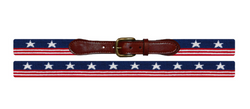 SMATHERS & BRANSON Old Glory Needlepoint Belt (Navy)