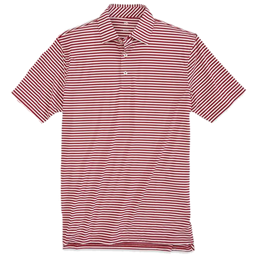 Southern Tide Driver Stripe Performance Polo - Garnet