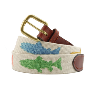 Smathers & Branson Rainbow Trout Needlepoint Belt