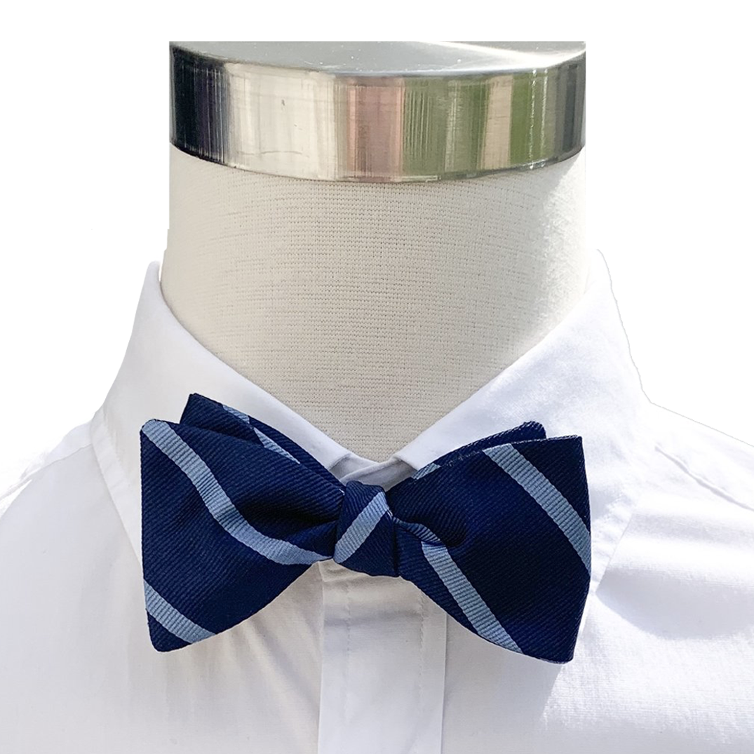 Collared Greens Navy & Light Blue Striped Bow Tie