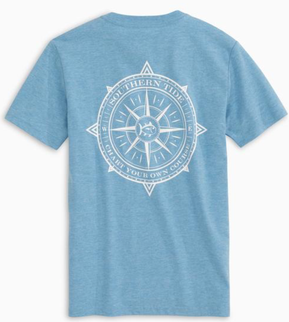 Southern Tide Boys Chart Your Own Course Heather Tee - Heather Ocean Channel
