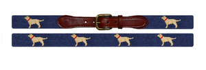 SMATHERS & BRANSON Yellow Lab Needlepoint Belt (Blue)