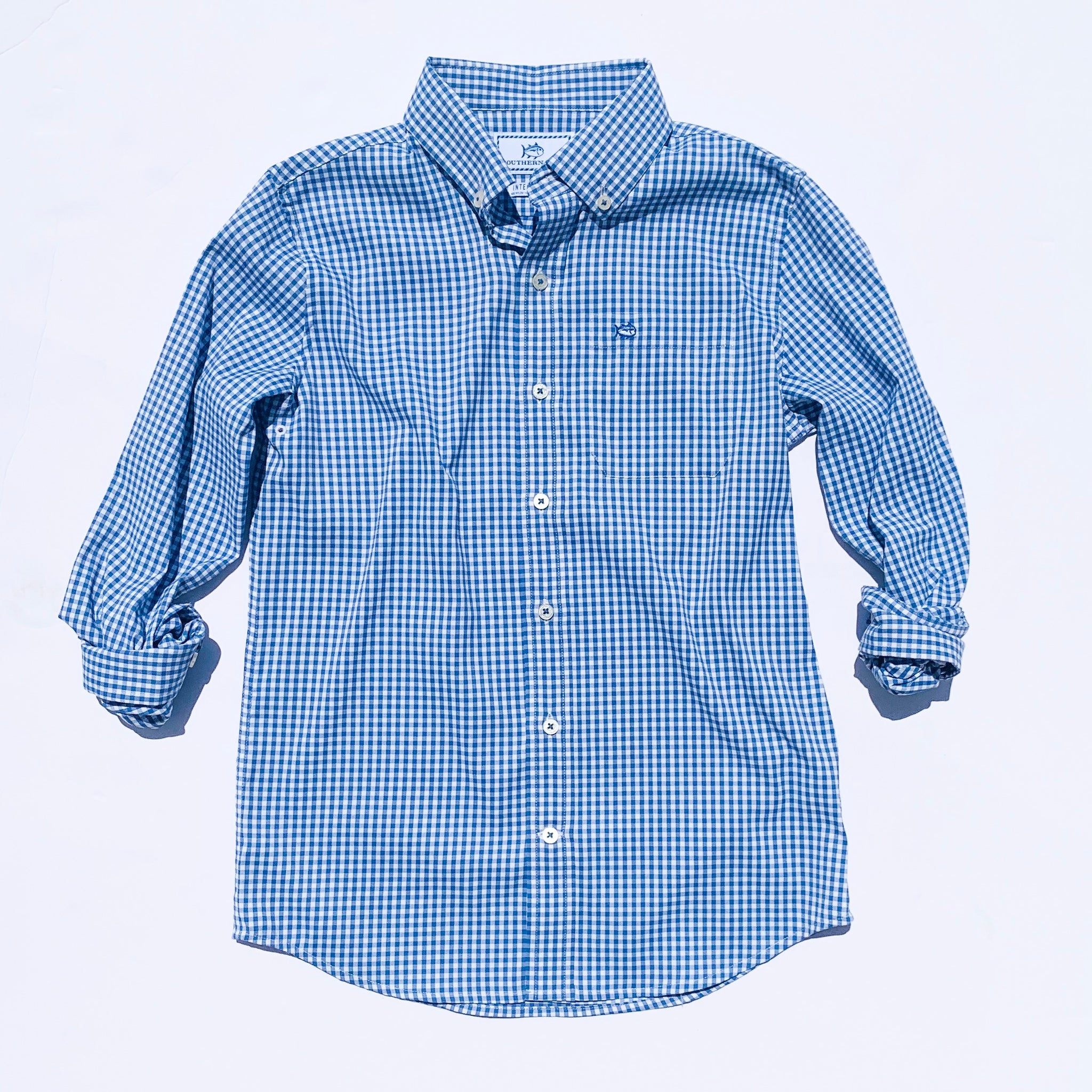 Southern Tide Boys Intercoastal Gingham Button Down Shirt - Dutch Blue