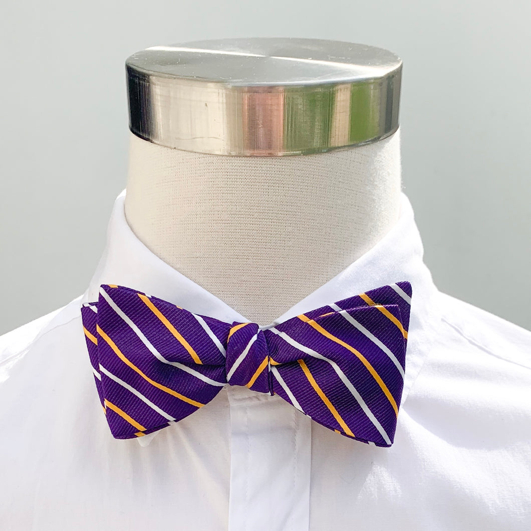 Collared Greens Purple & Gold Striped Bow Tie
