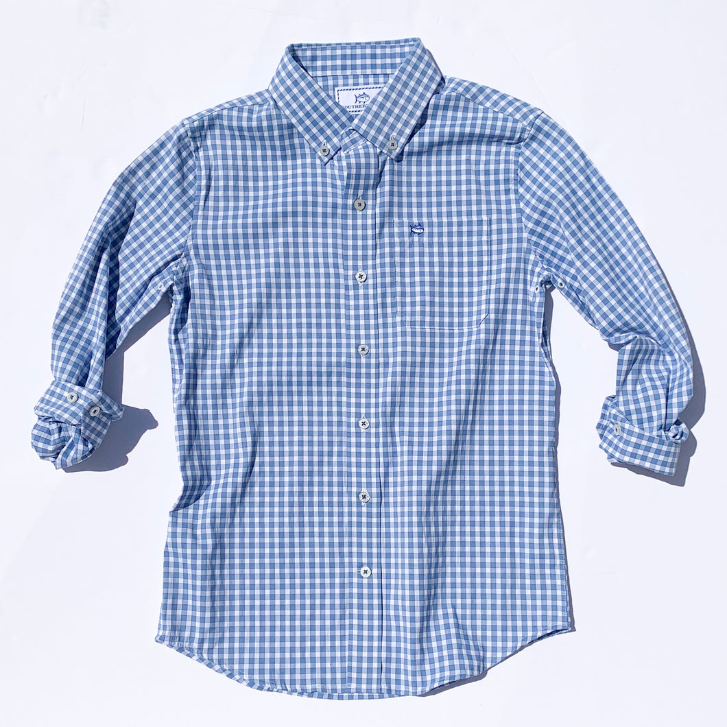 Southern Tide Boys Intercoastal Lucyan Gingham Button Down Shirt - Endless Blue