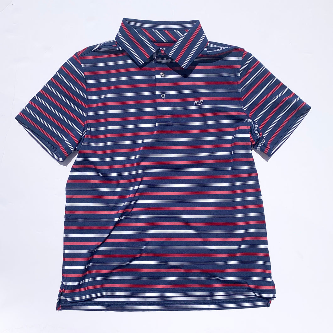Vineyard Vines Boys Camden Stripe Sankaty Performance Polo - Blue Depth