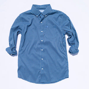 Southern Tide Boys Intercoastal Oak Newton Plaid Button Down Shirt - Endless Blue