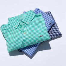 Load image into Gallery viewer, Vineyard Vines Boys Arawak Gingham On-The-Go Performance Whale Shirt - Cornflower