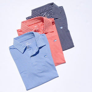 Southern Tide Boys Bimini Striped Performance Polo Shirt - True Navy