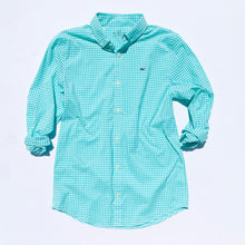 Load image into Gallery viewer, Vineyard Vines Boys Arawak Gingham On-The-Go Performance Whale Shirt - Antigua Green