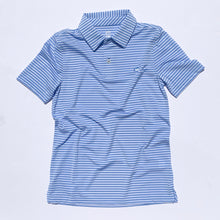 Load image into Gallery viewer, Southern Tide Boys Bimini Striped Performance Polo Shirt - Hurricane Blue