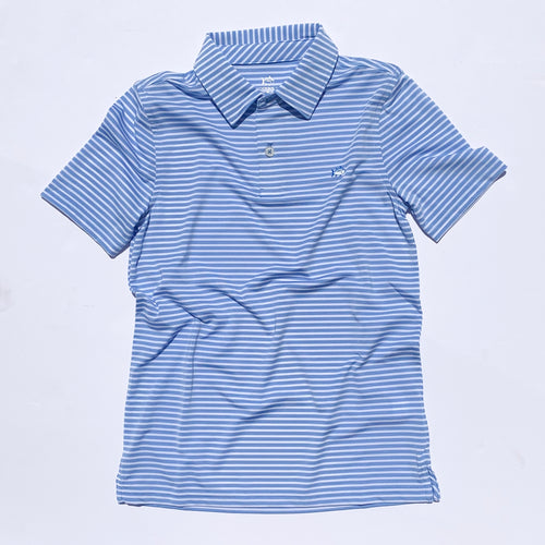 Southern Tide Boys Bimini Striped Performance Polo Shirt - Hurricane Blue