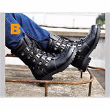 Mid Calf Skull Leather Boots  4